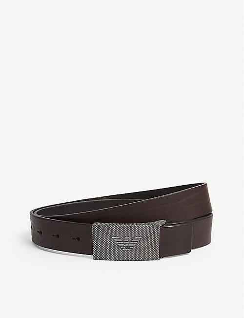 518c13c4 EMPORIO ARMANI - Eagle plaque buckle leather belt | Selfridges.com