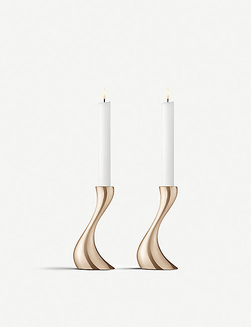 GEORG JENSEN: Cobra candleholders set of two