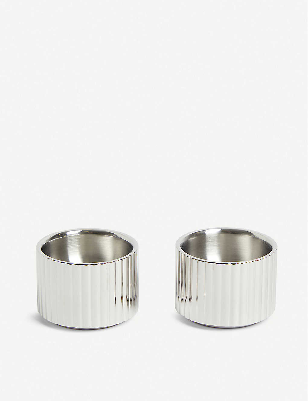GEORG JENSEN: Bernadotte set of two stainless steel egg cups 3.3cm