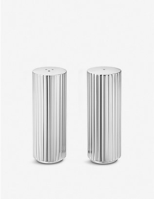 GEORG JENSEN: Bernadotte stainless steel salt and pepper set 8.8cm
