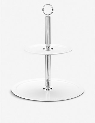 GEORG JENSEN: Bernadotte stainless steel and porcelain ?tag?re cake stand 28.7cm