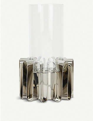 GEORG JENSEN: Frequency Hurricane mirror stainless steel lantern 28.5cm