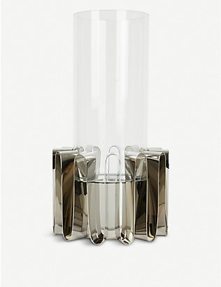 GEORG JENSEN: Frequency glass and stainless steel hurricane lantern 38cm
