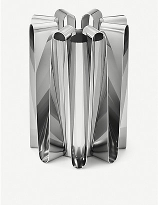 GEORG JENSEN: Frequency stainless steel vase 22cm x 16cm