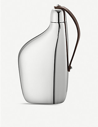 GEORG JENSEN: Sky stainless steel hip flask 430ml