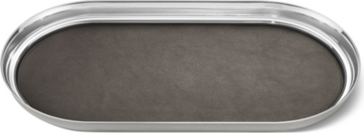 GEORG JENSEN Manhattan stainless steel and leather tray 35x18cm