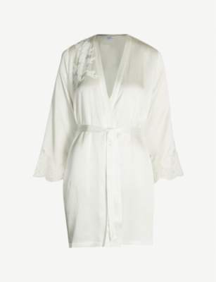 MARJOLAINE Gemma lace-trim silk-satin robe