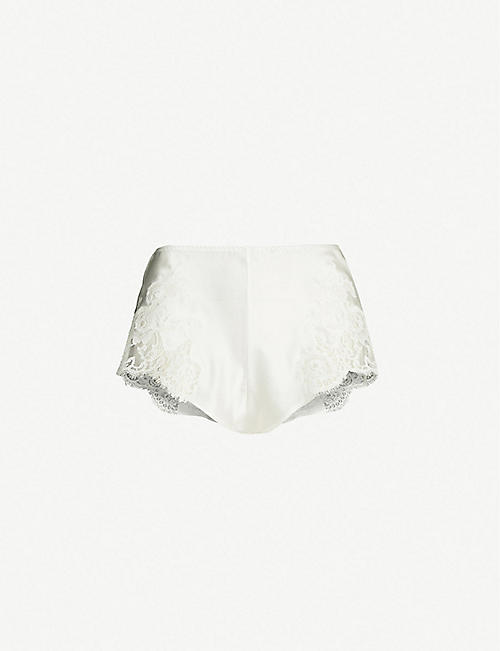 MARJOLAINE Gemma lace-panel silk-satin shorts