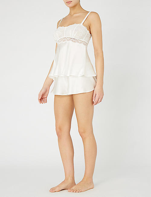 NK IMODE Lola Fizzy silk-satin and lace chemise