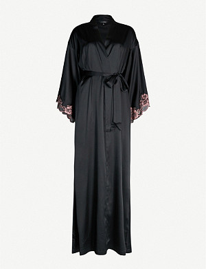 NK IMODE Florence lace-trimmed silk-satin robe