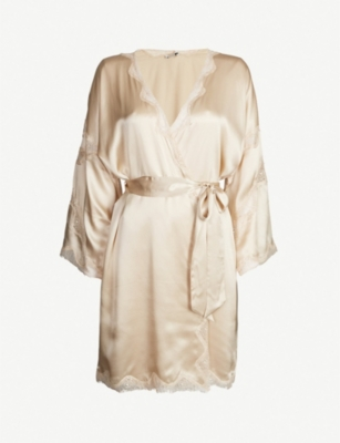 NK IMODE Devon Gimme Love stretch-lace and silk-satin robe