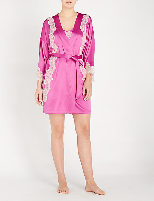 NK IMODE Skyler So Chic silk-blend satin and lace robe