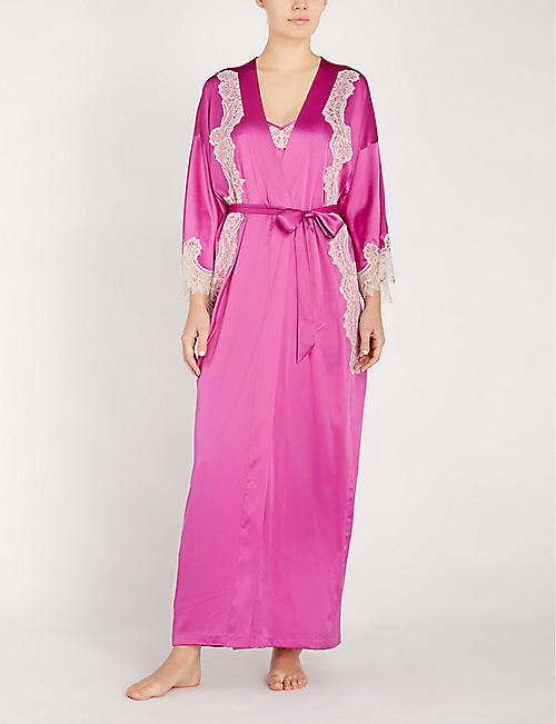 NK IMODE Skyler So Glam stretch-lace and silk-satin robe