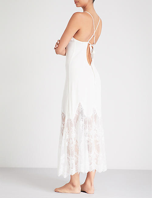 NK IMODE Sizzling stretch-silk and floral-lace slip dress