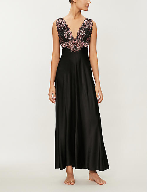 NK IMODE Florence lace-trimmed silk-satin nightdress