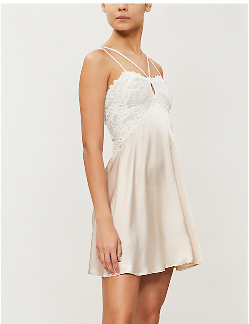 NK IMODE Paola floral-lace trimmed satin chemise