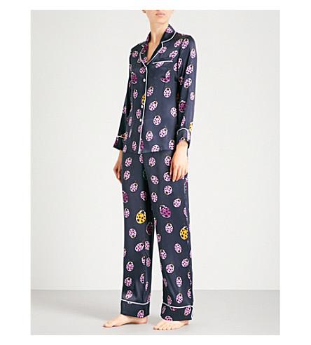 60cbd8dff8 Olivia Von Halle Lila Wendy Silk-Satin Pyjama Set In Navy Print ...