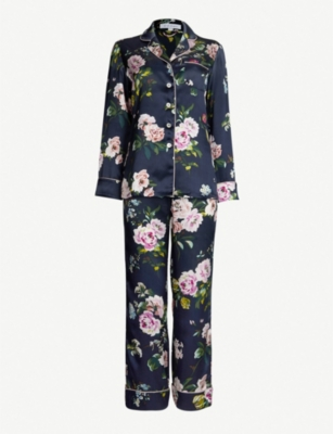 OLIVIA VON HALLE Lila Meredith floral-print piped pyjamas
