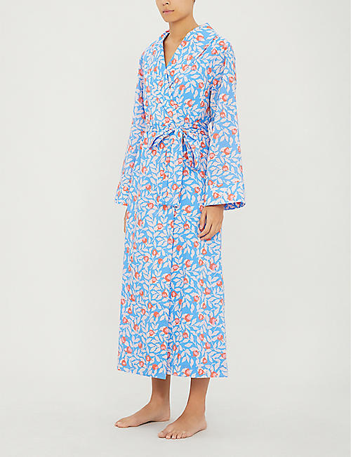 YOLKE Floral print cotton dressing gown