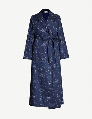 YOLKE Graphic-print cotton dressing gown