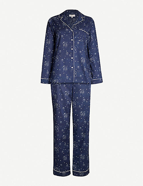 YOLKE Graphic-print cotton-poplin pyjama set