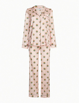 YOLKE Sun-print stretch-silk pyjama set