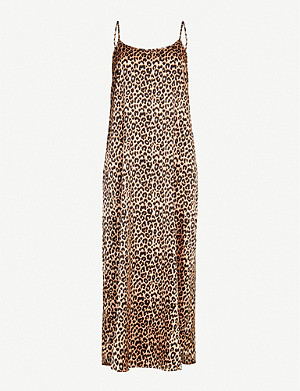 YOLKE Juno leopard-print stretch-silk slip dress