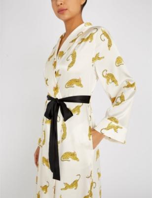 f438ab162f Yolke Prowling Leopard-Print Silk-Satin Robe In Prowling Leopards ...