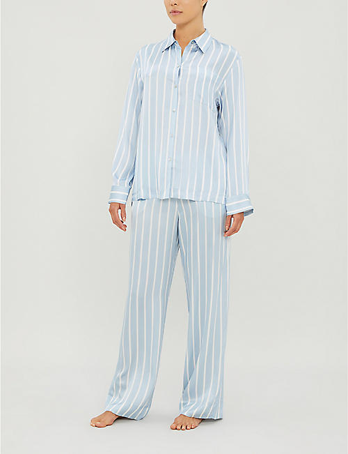 ASCENO Striped silk pyjama top