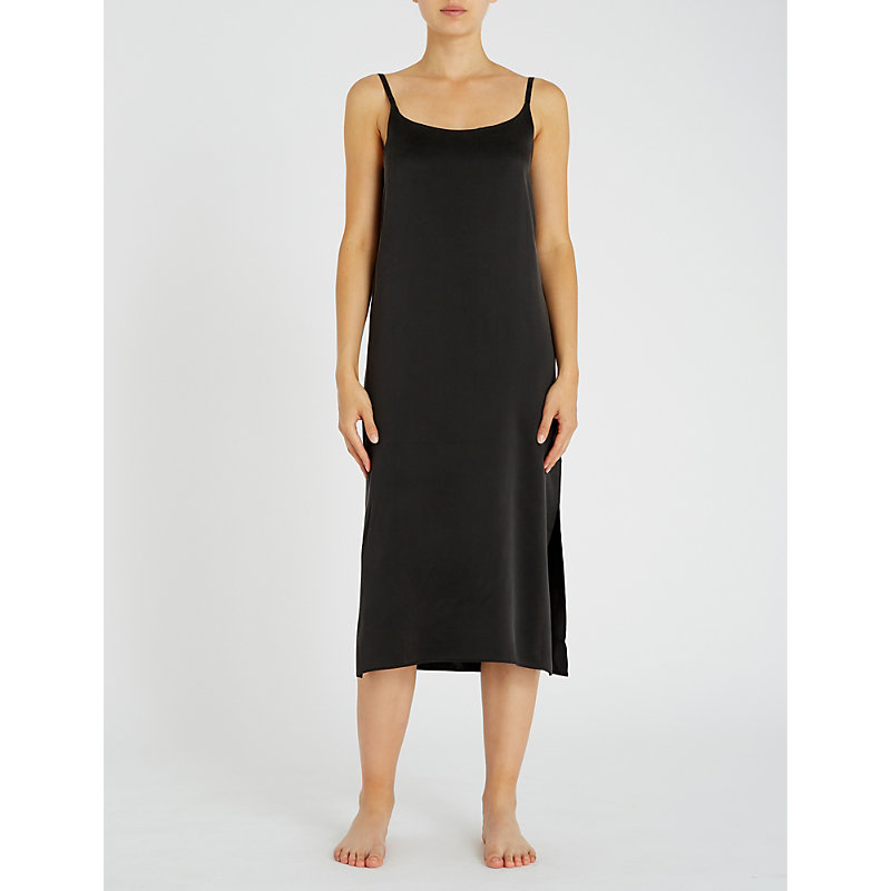 Asceno SCOOP NECK SILK-SATIN SLIP DRESS