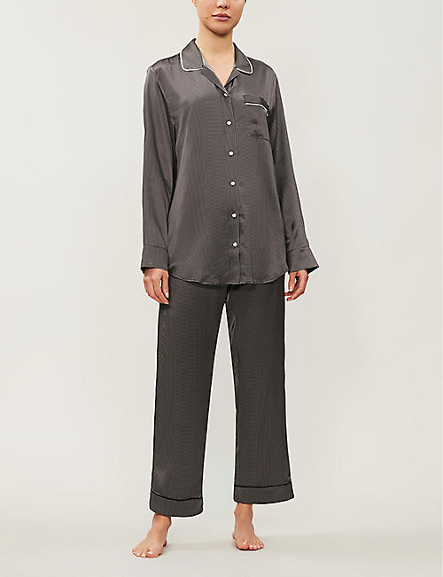 ASCENO Dotted silk-satin pyjama bottoms