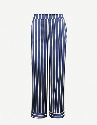 ASCENO: Exclusive pinstripe silk-satin pyjama bottoms