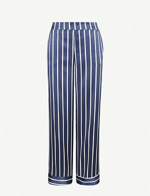 ASCENO Exclusive pinstripe silk-satin pyjama bottoms