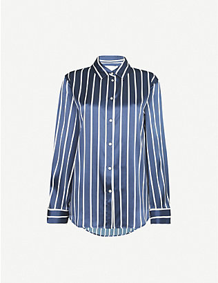 ASCENO: Exclusive striped silk-satin pyjama top