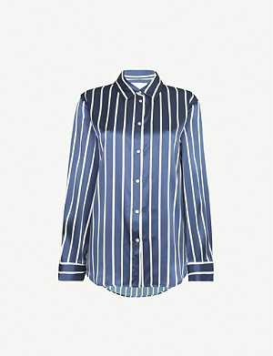 ASCENO Exclusive striped silk-satin pyjama top