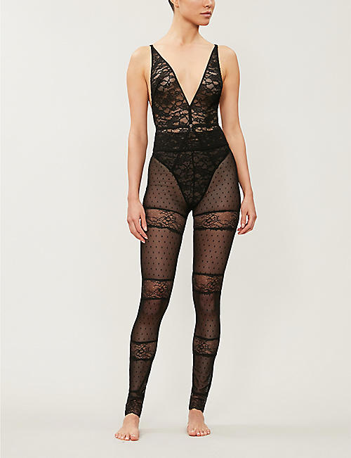 PRIVATE LIAISON Mara panelled polka dot and floral-lace leggings