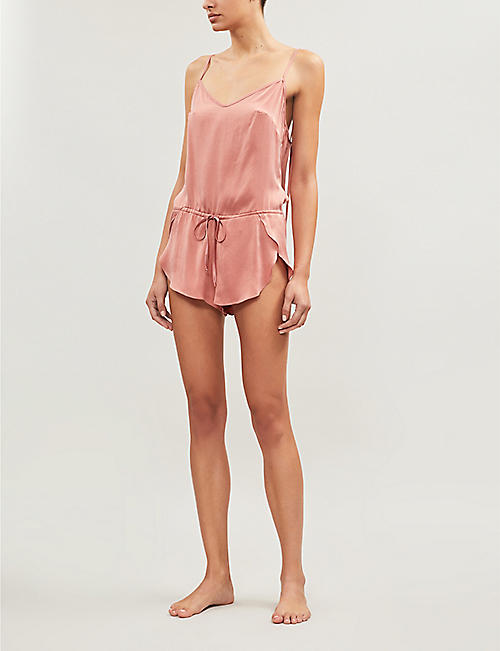 KENT WOMAN Splash relaxed-fit organic silk playsuit