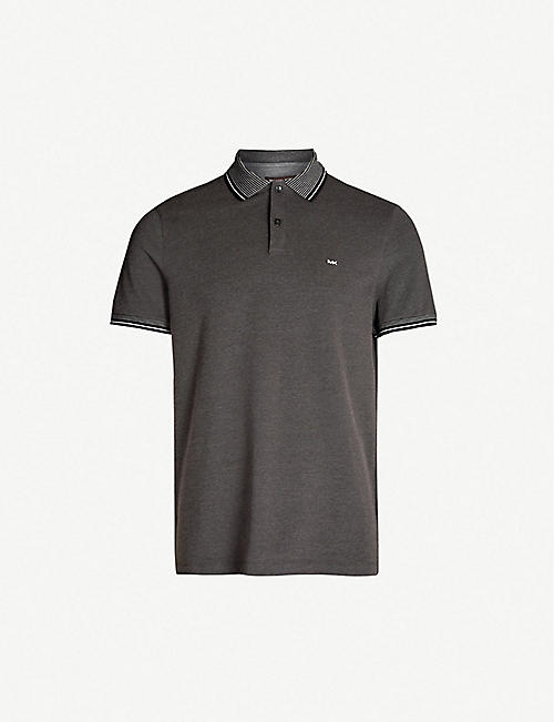 61e5910f21c3 MICHAEL KORS Striped-trim cotton-jersey polo shirt
