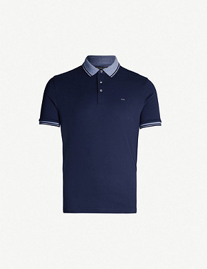 MICHAEL KORS Striped-trims cotton-jersey polo shirt