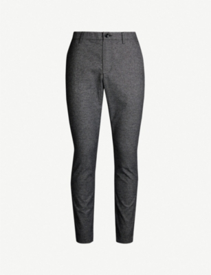 MICHAEL KORS Houndstooth-patterned slim-fit cotton-blend trousers