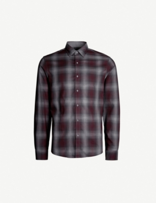 MICHAEL KORS Slim-fit flannel checked cotton shirt
