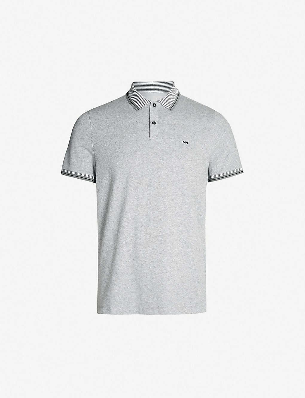 d9447f1f MICHAEL KORS - Striped-trim cotton-jersey polo shirt   Selfridges.com