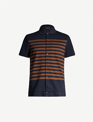 MICHAEL KORS Striped cotton-piqué polo shirt