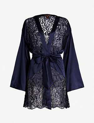 COCO DE MER Athene floral-embroidered satin and lace robe