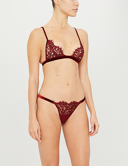 COCO DE MER Eugenia triangle velvet and lace bra