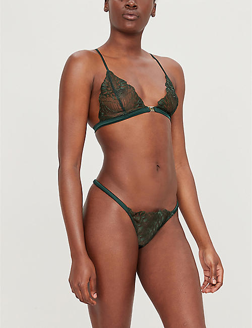 COCO DE MER Frieda sheer satin and lace thong