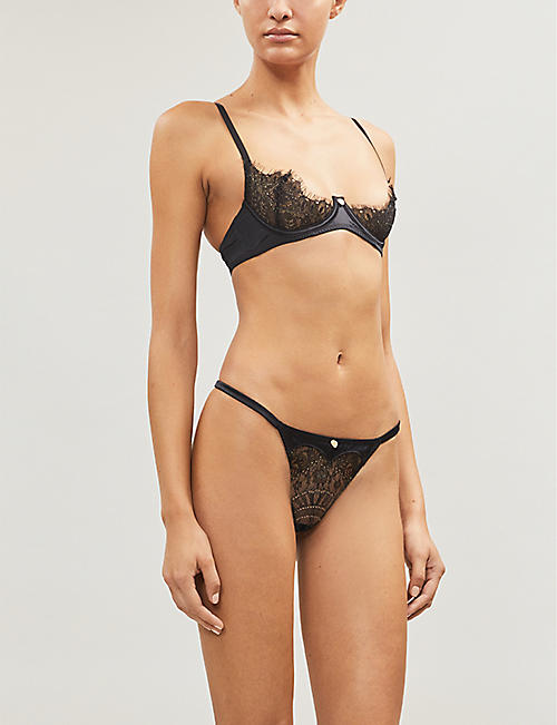 PLAYBOY BY COCO DE MER Gilded Heart lace-panel jersey thong
