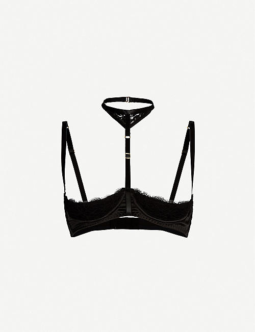 COCO DE MER Seraphine silk-satin and lace demi-cup harness bra
