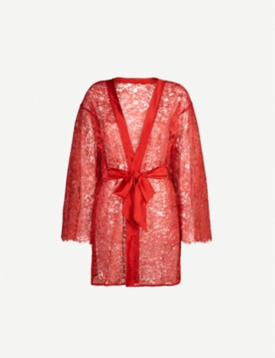 COCO DE MER Venus stretch-lace and satin robe
