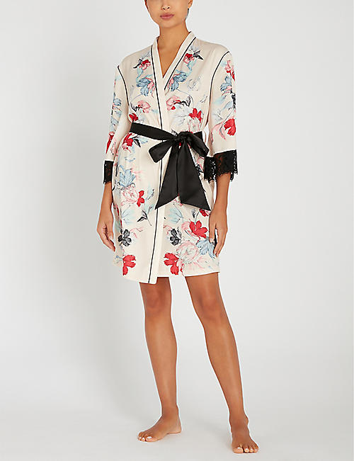 PALINDROME Rebel Flower floral-print satin dressing gown